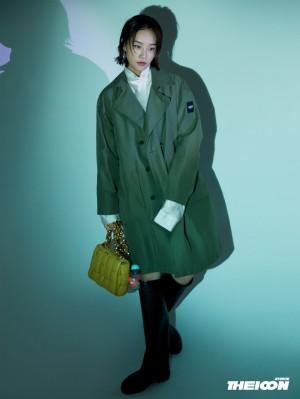 蓝盈莹绿色风衣时尚优雅写真图片