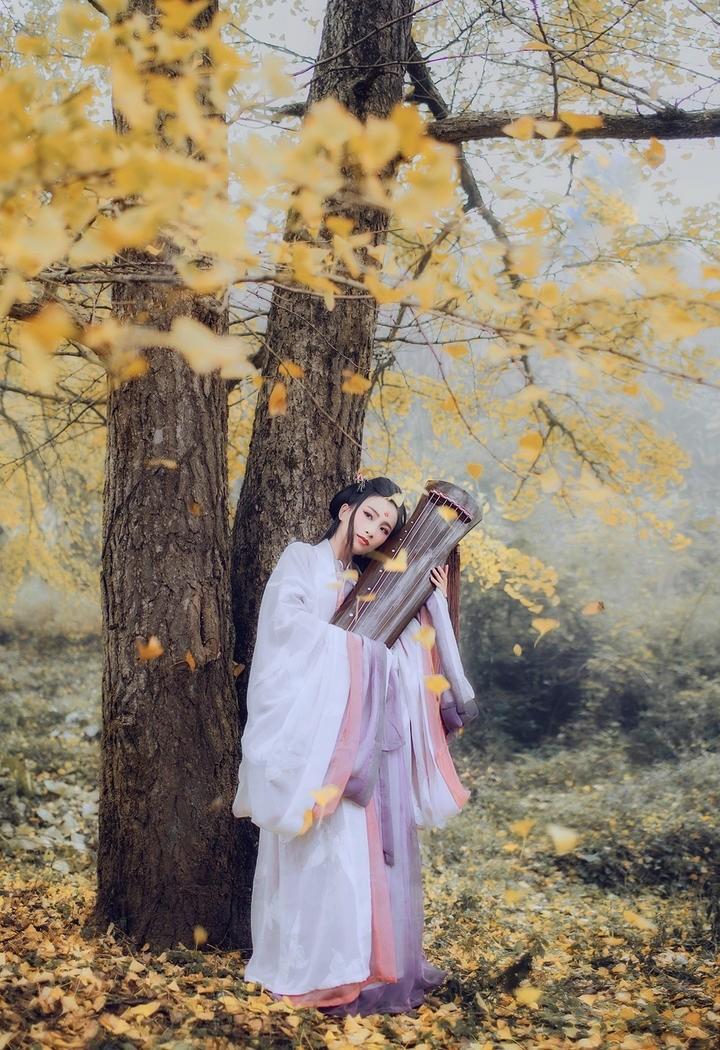 清逸脱俗古筝美女图片艺术照