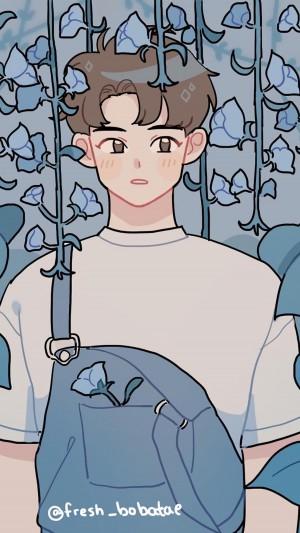 日韩文艺青春少年治愈插画手机壁纸