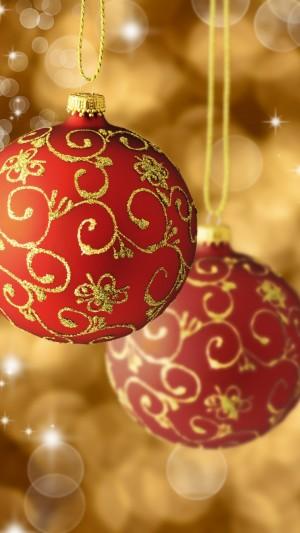 圣诞节之金边红色圣诞球