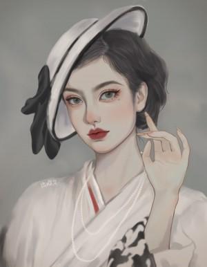 唯美少女头像手绘图片
