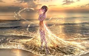 沙滩上水波裙摆二次元美女桌面壁纸