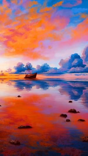 大海帆船绚丽风景插画