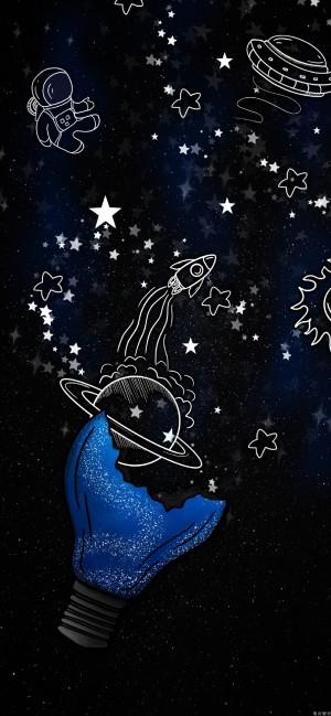 星空全面屏高清手绘壁纸图片