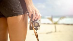 性感美女和相机