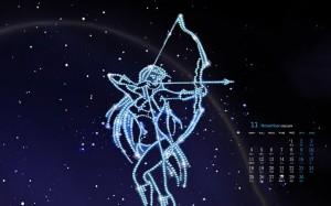 2019年11月射手座星空插画创意日历壁纸