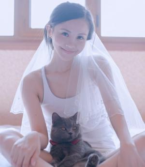 头戴白色头纱美女与小猫咪玩亲亲私房照