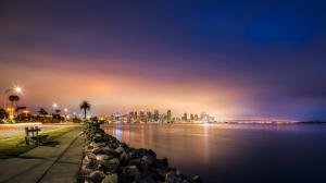 摩天大楼,桥,人行道,路,圣地亚哥,海岸,4K风景壁纸