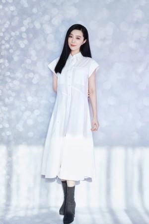 范冰冰清新白裙优雅气质写真图片