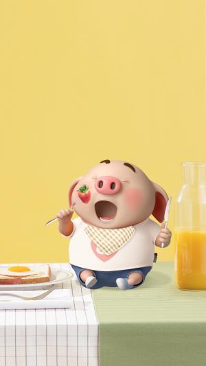 清晨享受早餐的猪小屁