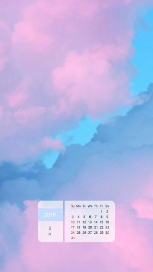 2019年3月天空云彩唯美日历手机壁纸