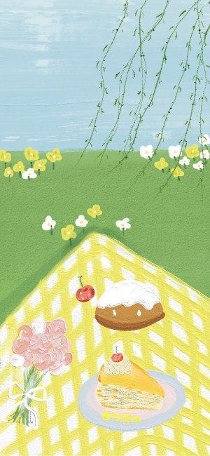 春天野餐清新油画手机壁纸