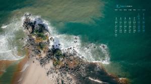2020年8月优美绿色海岸线高清日历壁纸