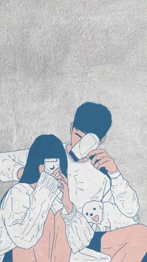 情侣甜蜜插画图片壁纸