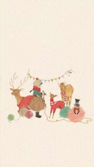 圣诞节简约卡通创意插画图片壁纸
