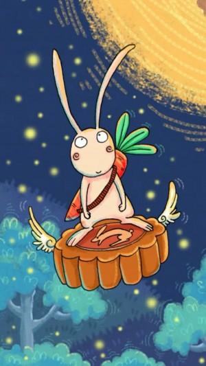 中秋节兔子月饼卡通手绘图片