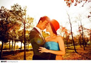 夕阳意境情侣唯美婚纱照图片