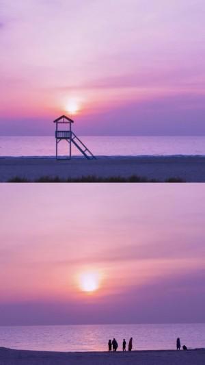 唯美紫色日落日出手机壁纸