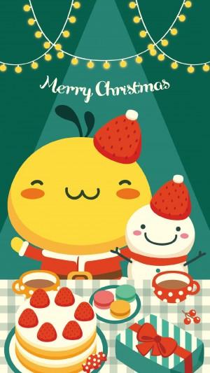 油爆叽丁圣诞节萌系图片手机壁纸