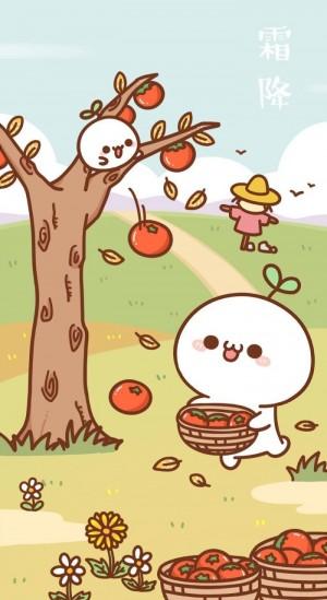霜降之丰收的柿子卡通图片