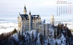 2019年12月唯美梦幻城堡建筑图片日历壁纸