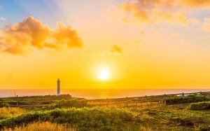 日本冲绳岛超美日落景色桌面壁纸