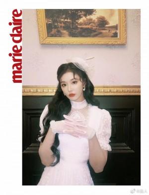 孔雪儿白色复古蕾丝套装民国风迷人写真图片