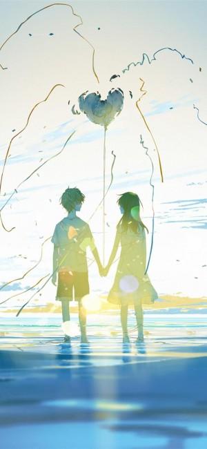 情侣唯美浪漫牵手动漫图片壁纸