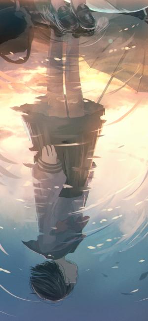 水中倒映著孤獨的身影