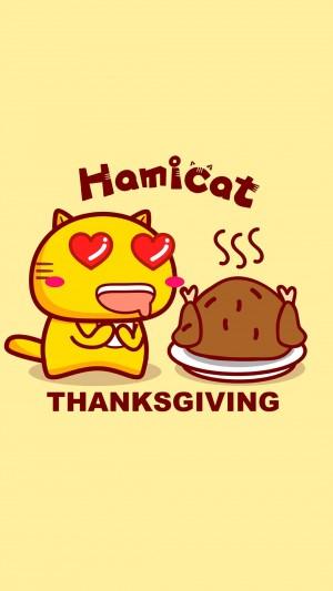 哈咪猫感恩节祝福创意图片壁纸