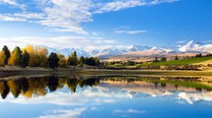 新西兰 哈顿山 南岛坎特伯雷地区 秘密湖泊 风景壁纸