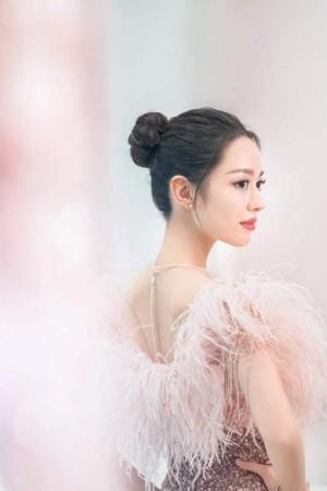 吉娜粉色羽毛长裙唯美气质写真图片