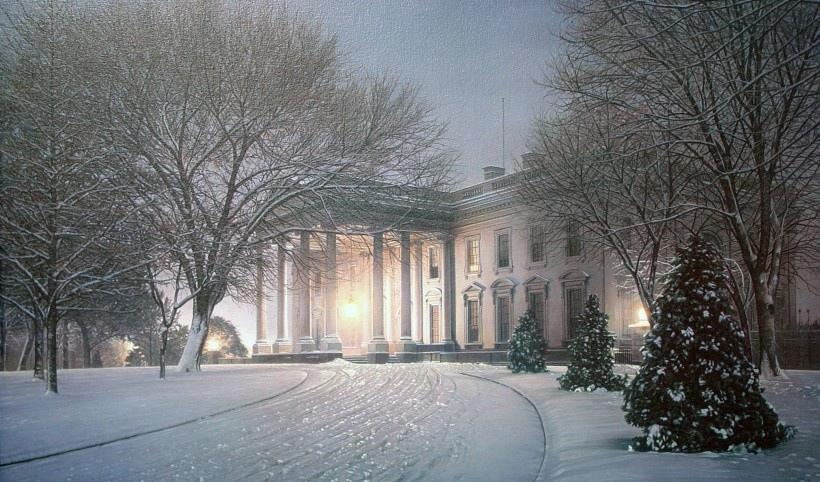 冬日雪景油画图片