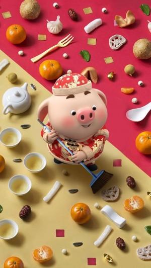 春节大扫除的猪小屁