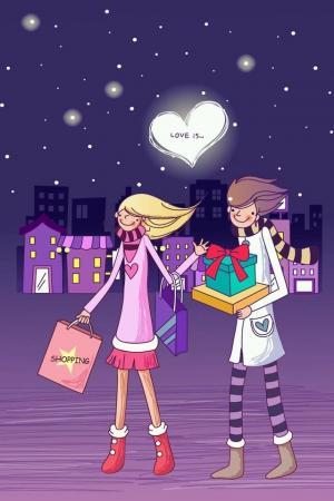 漂亮的卡通爱情手机壁纸