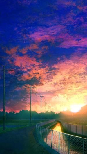 动漫梦幻的晚霞风景线