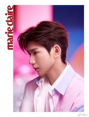 王源粉紫色衬衫优雅温柔气质写真图片