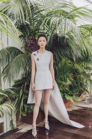万茜披风短裙大气典雅简约写真图片
