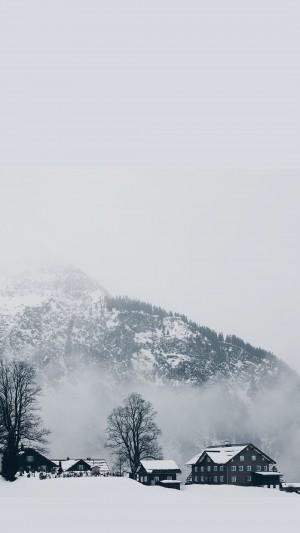 绝美纯白雪景图片手机壁纸