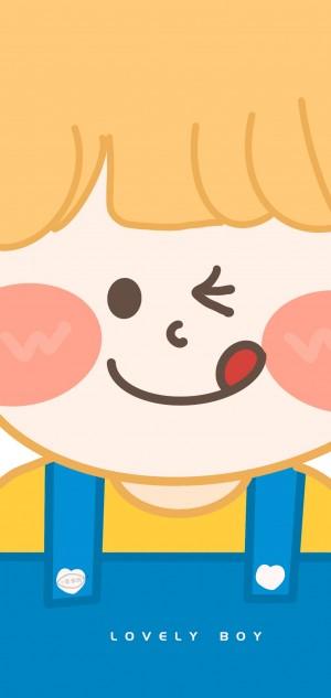 粉色可爱卡通情侣手绘手机壁纸