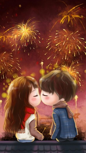 新年烟花下情侣浪漫卡能插画