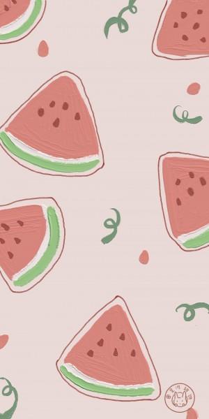 香甜水果手绘油画平铺手机壁纸