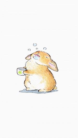 可爱卡通萌系兔子手机壁纸