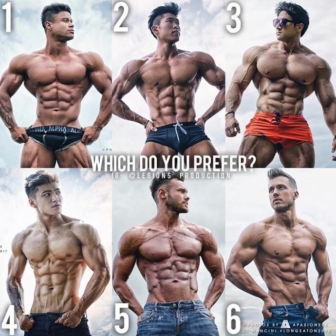 6种肌肉体型,你喜欢哪个