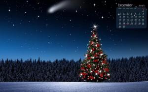 2019年12月圣诞树梦幻夜晚日历图片