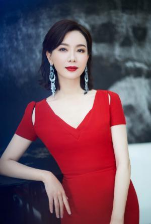 大龄气质女明星陈数中国红鱼尾长裙高贵典雅图片