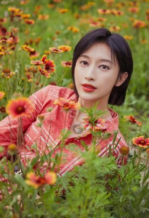 张俪红唇短发百变造型清丽气质田园时尚写真图片