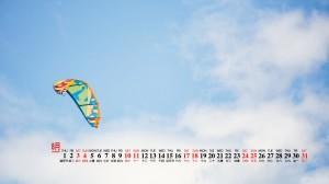 2019年8月蓝色小清新风景高清日历壁纸