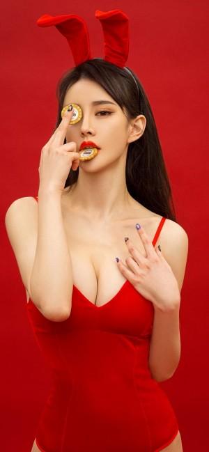 尤果网Cheryl青树美艳性感红色系手机壁纸