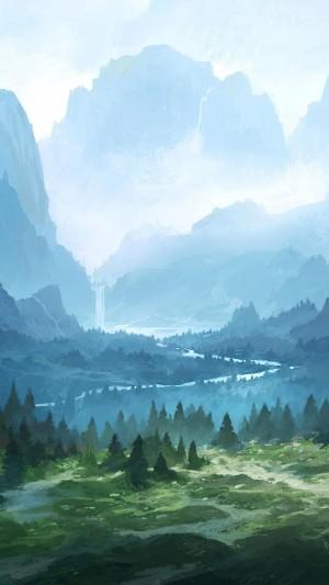 清新大自然风光手绘插画